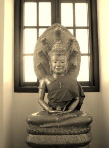 Buddha under the Bodhi tree, in a monestary in Bangkok